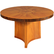 Swedish Art Deco Elm and Mahogany Veneer Center Table