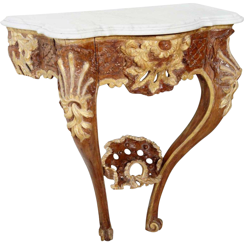 Small German Rococo Marble Top and Painted Pine Wall Console