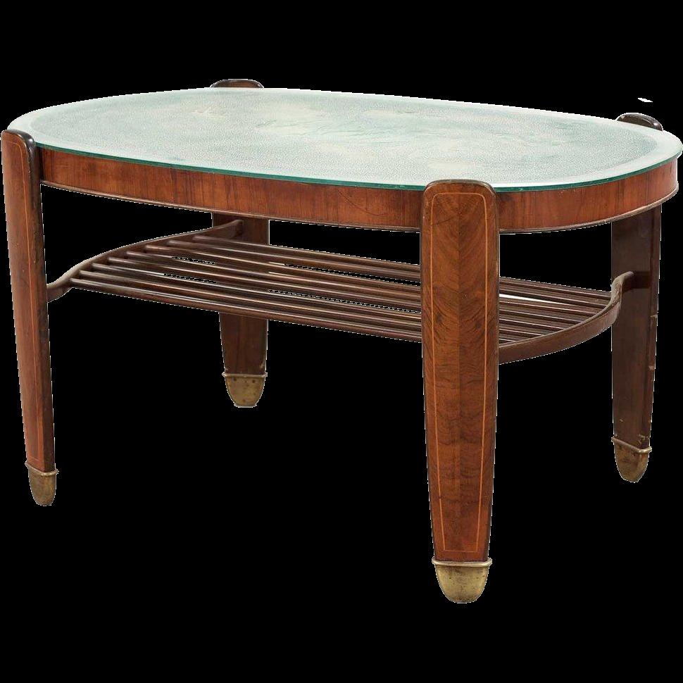 Danish Edmund Jorgensen Etched Glass and Mahogany Veneer Table