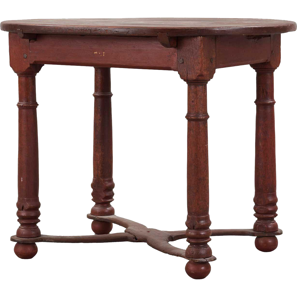 Swedish Baroque Painted Pine and Oak Oval Tavern Table