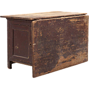 Swedish Painted Pine Drop-Leaf Work Table with Cabinet Base