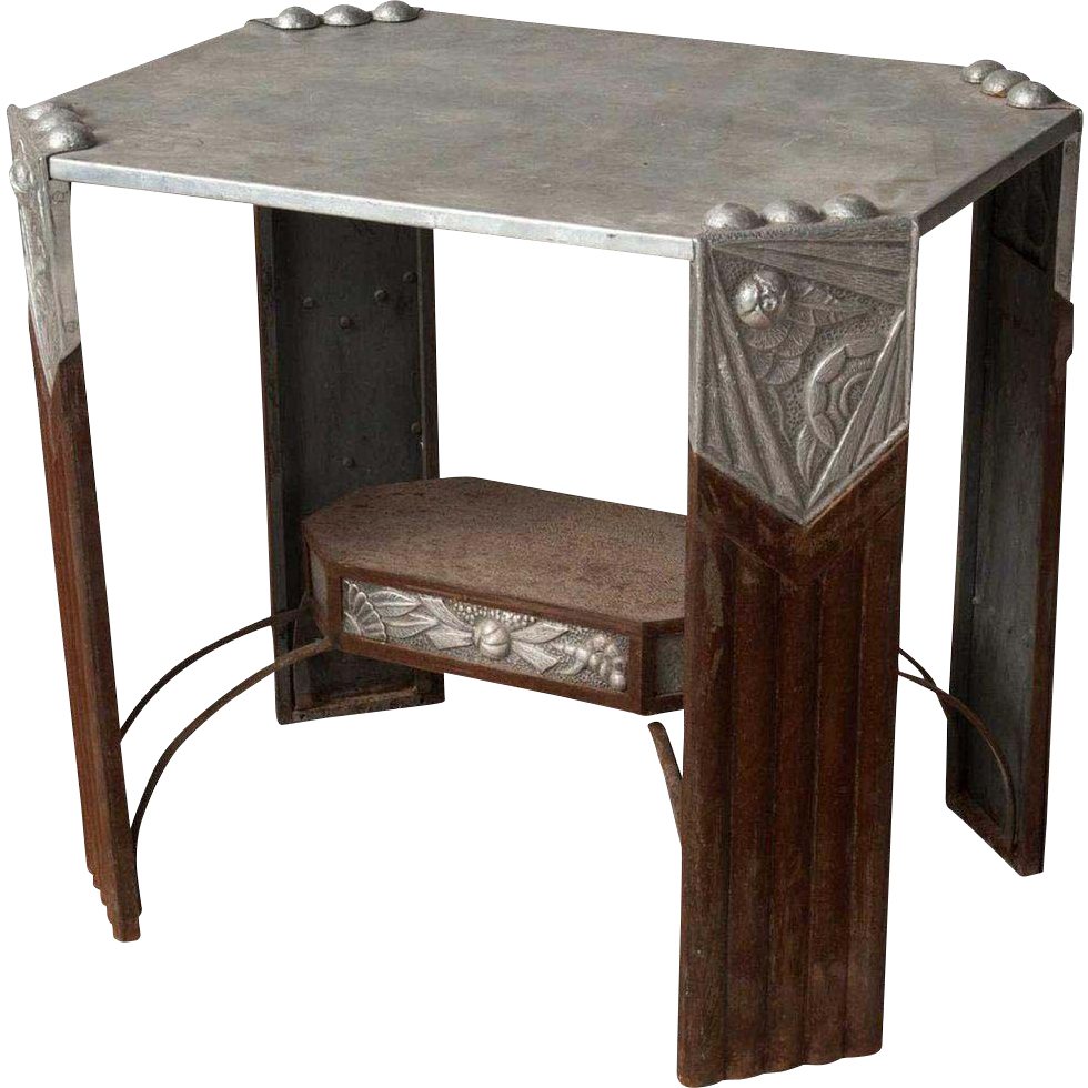 French or Belgian Art Deco Aluminum and Metal Side Table