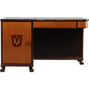 Swedish Art Deco Modern Birch Inlaid Desk and Bookcase 1930