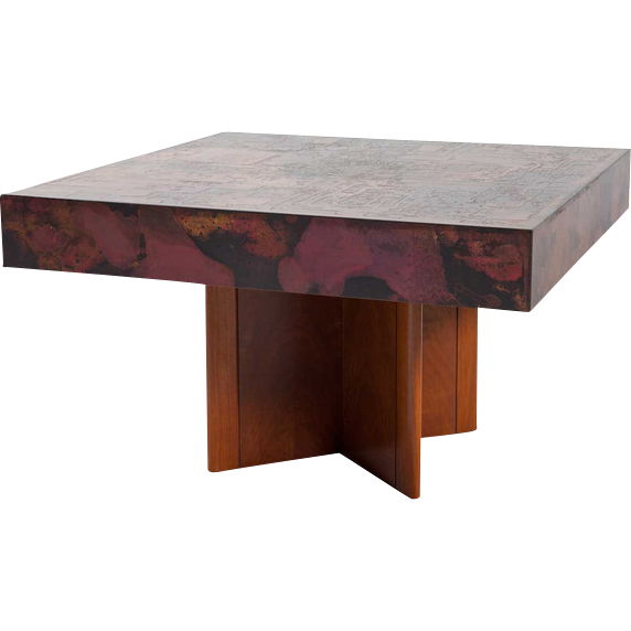 German Hohnert Design Brass Mounted Walnut Square Coffee Table
