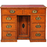 English Satinwood Campaign Kneehole Desk