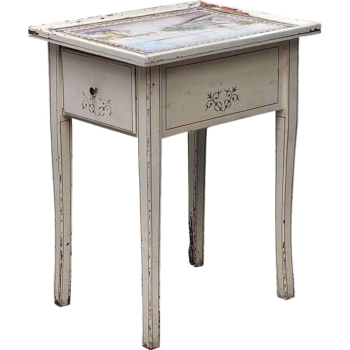 Dutch Tile-Top Painted Pine Side Table Ex. Anni & Bent Knudsen Collection