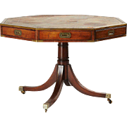 English Regency Style Leather Top Mahogany Veneered Drum or Rent Table