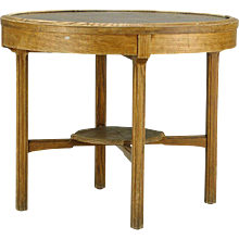 Swedish AB Nordiska Elm and Hammered Copper Side Table