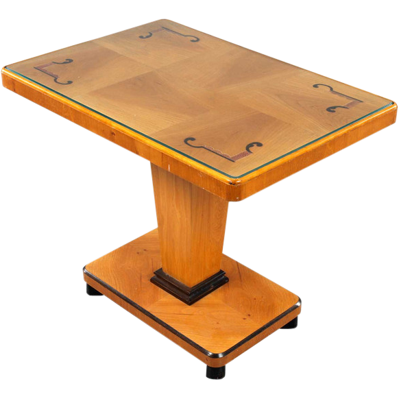 Swedish Art Deco Modern Elm and Birch Pedestal Side Table
