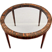 French Art Deco Rosewood and Glass Round Cocktail Table