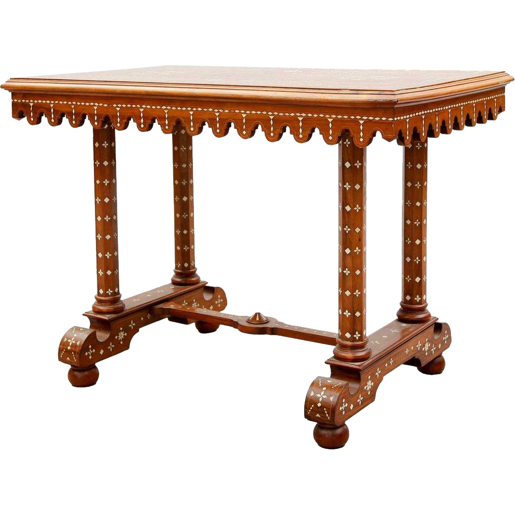 Indian Inlaid Teak Center Table