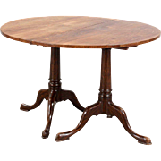 English Mahogany Double Pedestal Oval Dining Table