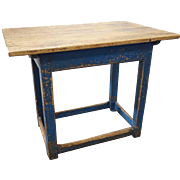 Swedish Blue Painted Pine Side or Work Table