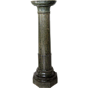 Italian Variegated Green Marble Round Pedestal