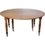 French Louis Philippe Style Walnut Extending Dining Table