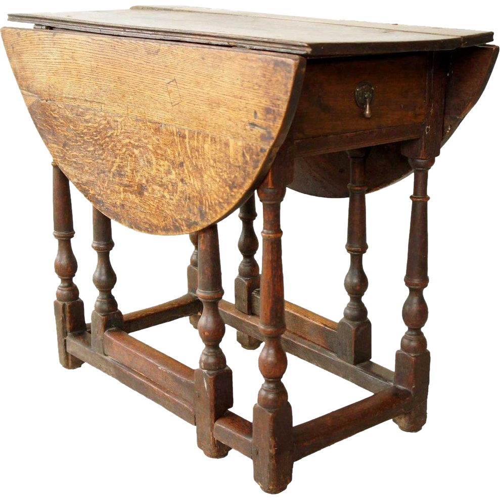 English Georgian Oak Drop-Leaf Gateleg Table
