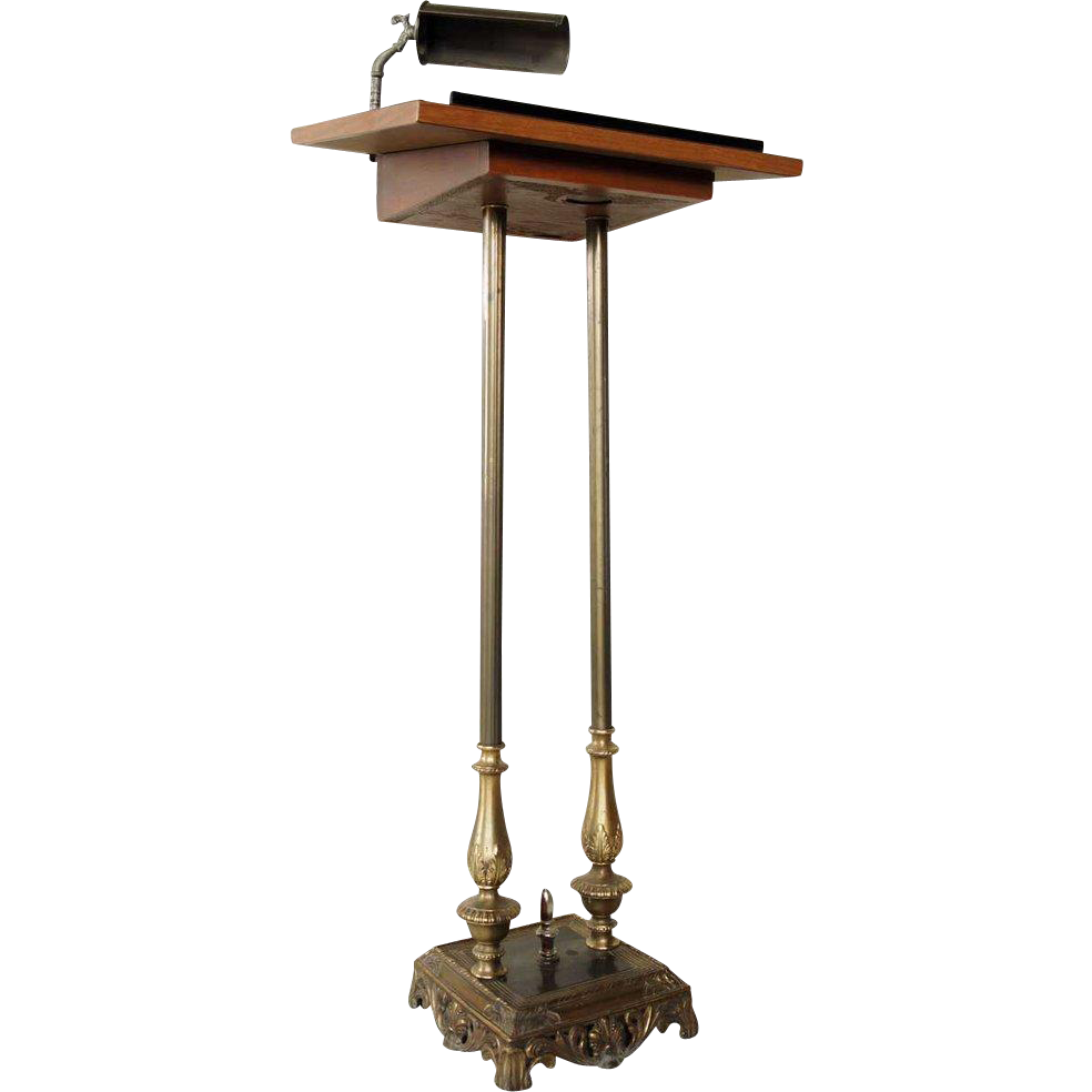 Vintage Brass and Wood Registration Podium Pedestal Stand