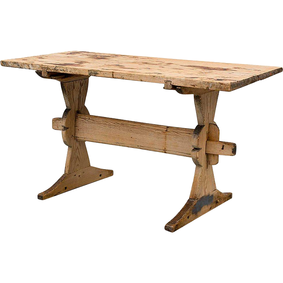 Swedish Allmoge Pine Trestle Dining Table