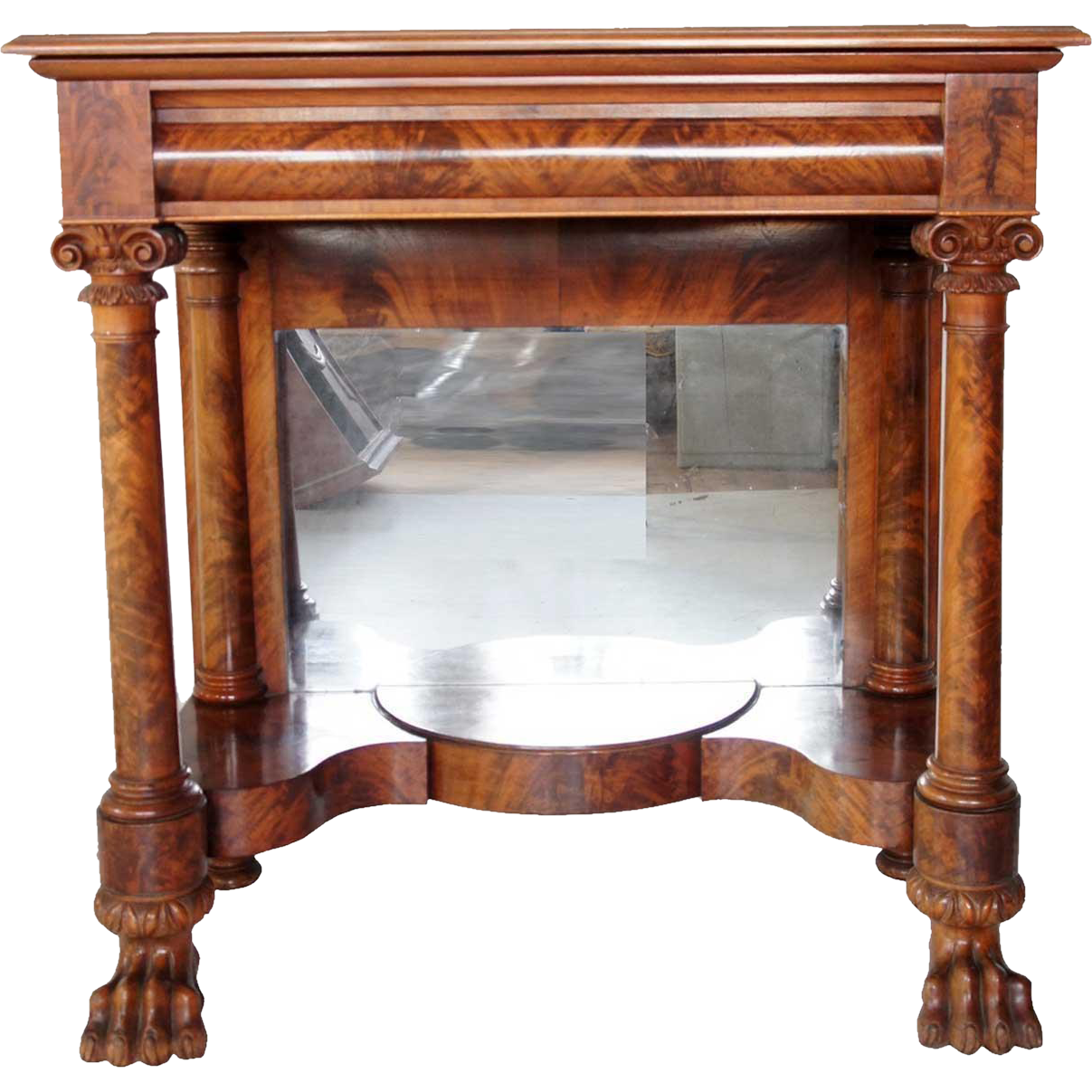 Small American Empire Cherry Mirrored Console