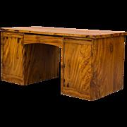 Swedish Teak and Camphorwood Two-Pedestal Desk