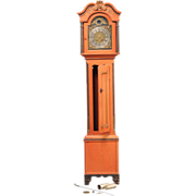 18th Century Danish Red Painted Pine Tall Case Clock