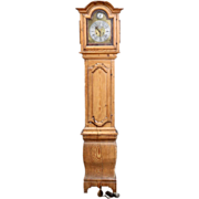 Danish Baroque Jens Schultz Stripped Pine Tall Case Clock