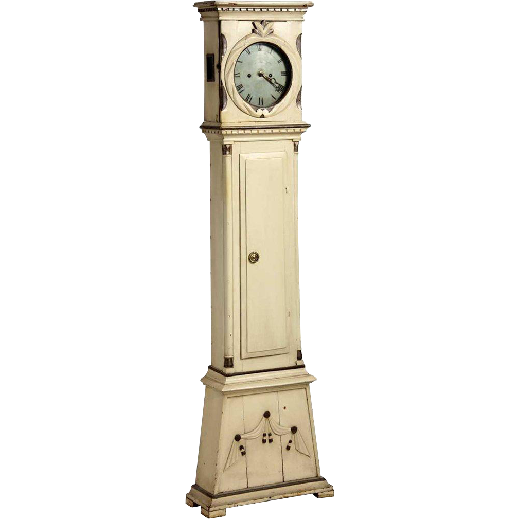 Danish Empire Peter Bjerregrav Painted Pine Grandfather Clock