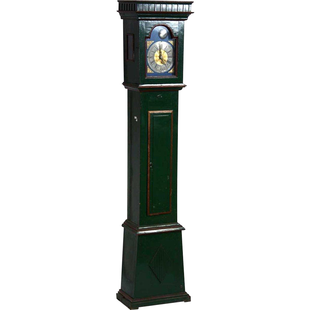 Swedish Gustavian Painted Pine Grandfather Clock