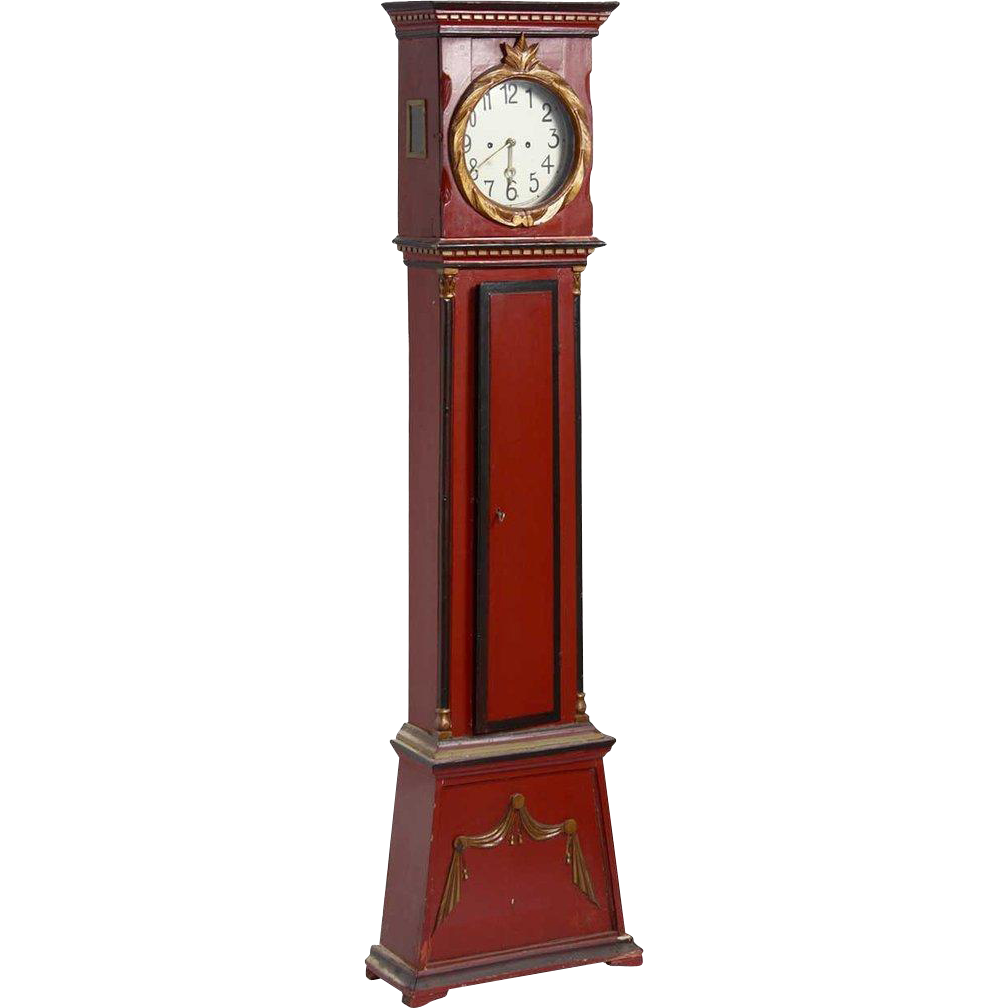 Danish Empire Bornholm Painted Pine Grandfather Clock