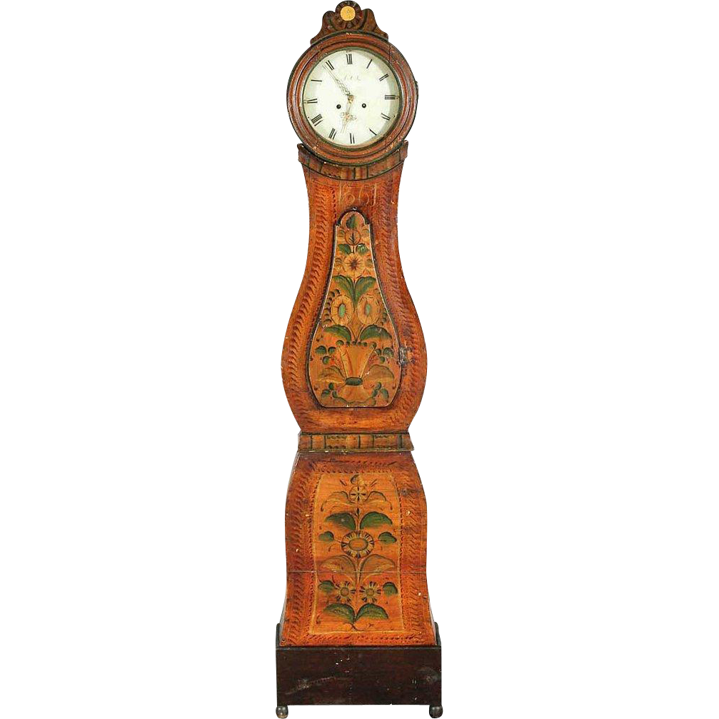 Swedish Dalarna Painted Pine Mora Longcase Clock