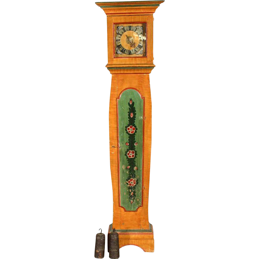 Danish Faux Grain Painted Pine Grandfather Clock