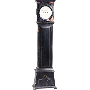 Danish Bornholm Empire Jens Christian Bjerregrav Painted Pine Grandfather Clock