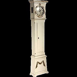 Danish Empire Bornholm Painted and Gilt Pine Grandfather Clock