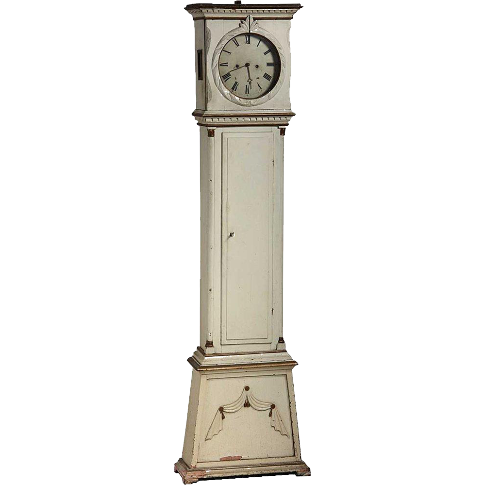 Danish Empire Painted Pine Grandfather Clock