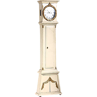 Danish Empire Bornholm Painted and Gilt Pine Grandfather Clock