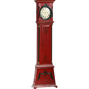 Danish Empire Bornholm Red Painted Pine Grandfather Clock