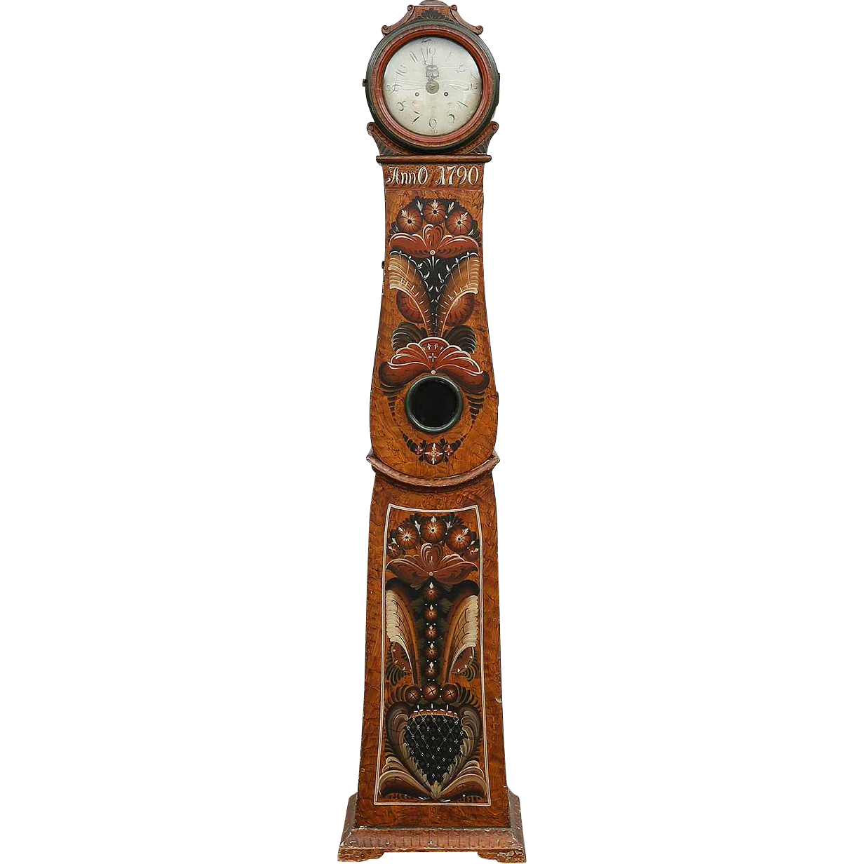 Swedish Allmoge Painted Pine Mora Longcase Clock