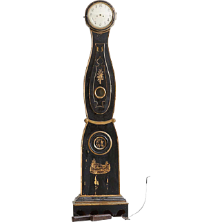 Swedish Mora Black and Gilt Painted Pine Grandfather Clock