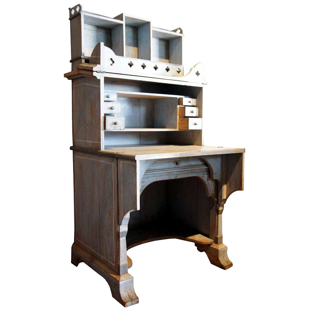 Swedish Two-Part Painted Adjustable Writing Desk