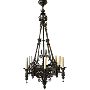Large Renaissance Revival Wrought Iron Eight-Light Chandelier 19th C.