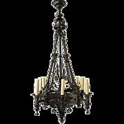 Large Renaissance Revival Wrought Iron Eight-Light Chandelier 19th C.