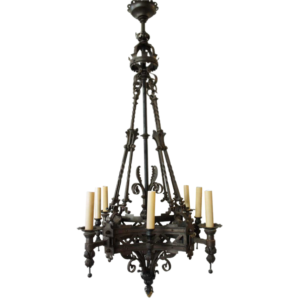 Large Renaissance Revival Wrought Iron Eight-Light Chandelier