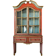 Gustavian Style Painted Display Cabinet on Stand