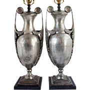 Pair of French Etruscan Revival Zinc Urn Table Lamps