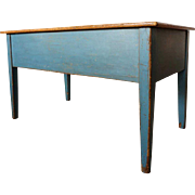 American New England Blue Painted Pine Dough Bin