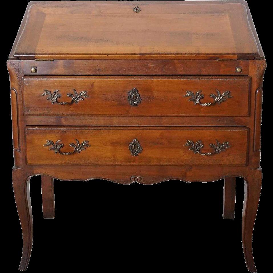 Vintage French Louis XV Style Cherrywood Slant-Front Desk