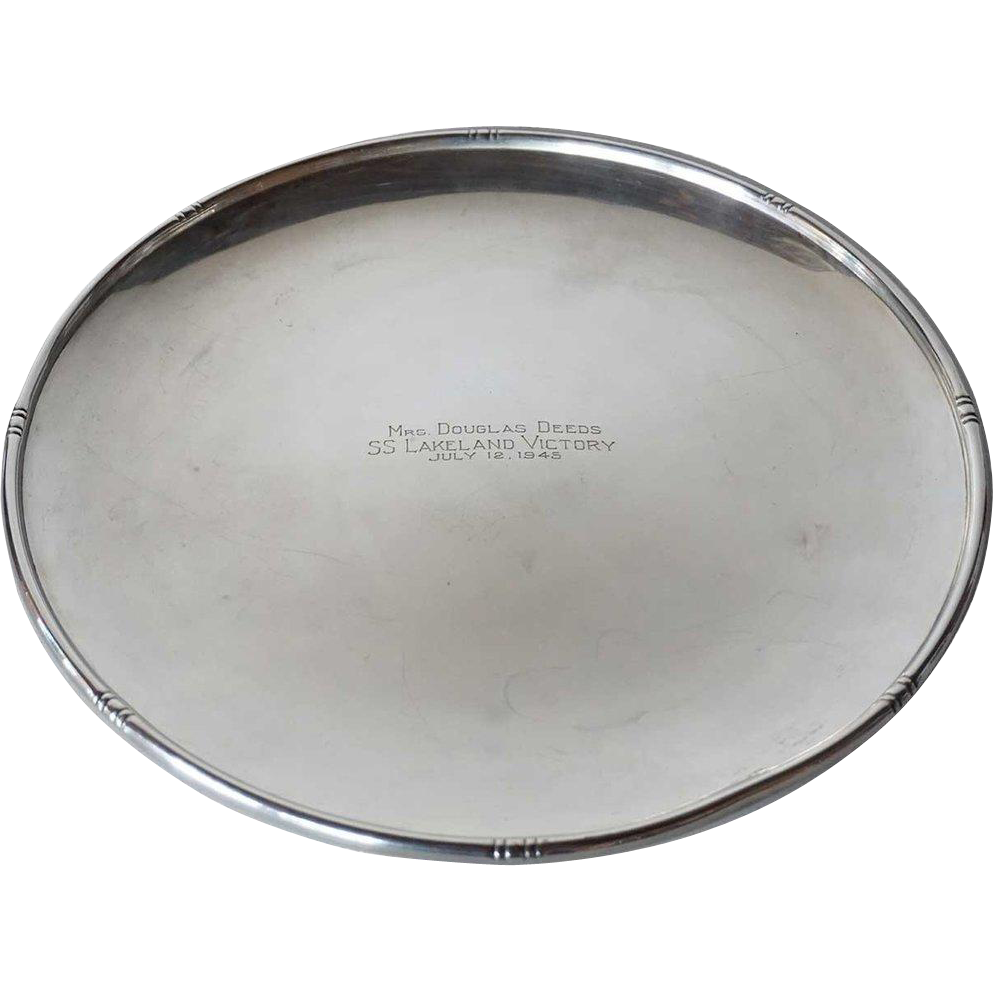 American Gumps Sterling Silver WWII Era SS Lakeland Victory Presentation Platter