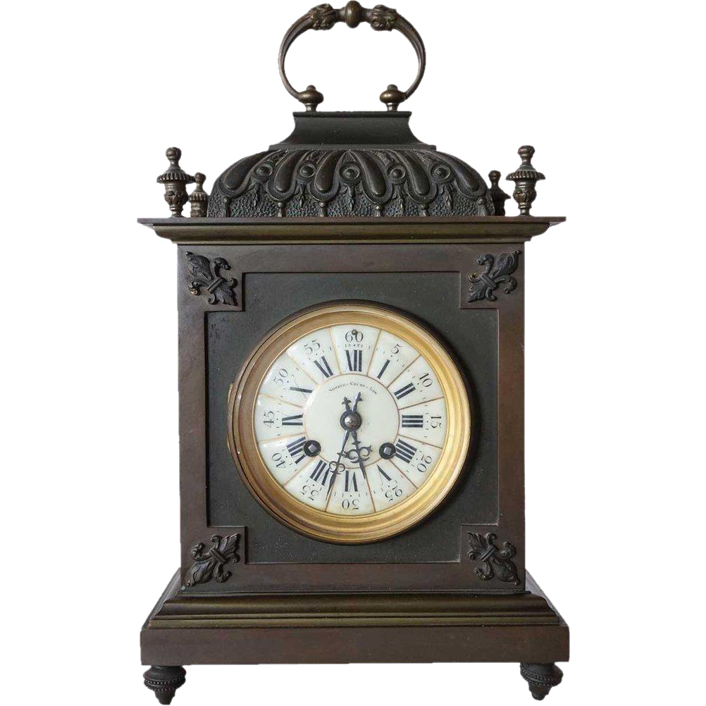 American Shreve, Crump & Low and Japy Freres Bronze Mantel Clock