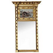 Small American Federal Eglomise Panel Gilt Mirror