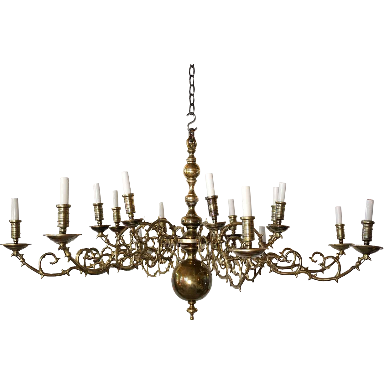 Large Dutch 18th Century Style Brass 16-Light Chandelier